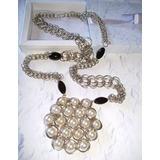 Maxi Collar En Tejido Medieval Con Dije De Perlas Blancas