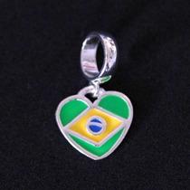 Pingente Prata 925 Bandeira Do Brasil Para Pulseira Momento