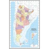 Cuadro De Mapa De Argentina En Tela Canvas/ Bastidor 90x127