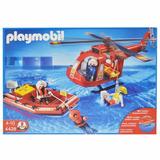 Playmobil Equipe De Resgate Com Helicóptero E Bote 4428