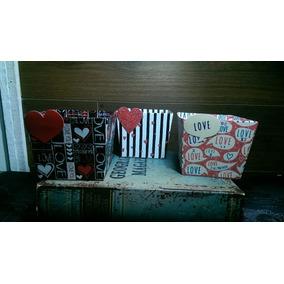 Set 3 Caja Canasta Cartón Resistente Love. Decoración Boda