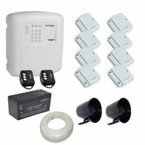 Kit Ecp 1 Central De Alarm Com Discadora 8 Sensores Magnétic