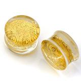 Alargador Acrílico C/ Glitter Detalhes Dourado Par 12mm