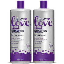 Kit 2 Shampoo Alisante Blond Liso Extremo Is My Love 500ml