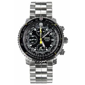 Reloj Seiko Flightmaster Sna411p1 Cronógrafo Crystal Hardlex