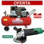 Compresor 100lt. 3hp Nitro + Esmeril Angular 4.1/2 Hitachi