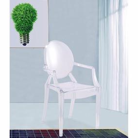 modern louis xiv arm chair in clear