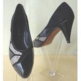 Zapatos Negros Con Charol Y Gamuza Nro.36 O.mar2011