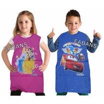 Delantal Escolar Plastico Cars Princesas Ben10 Barbie Niño