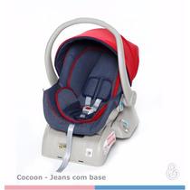 Kit Bebê Conforto + Base Para Carro Cocoon Jeans Galzerano