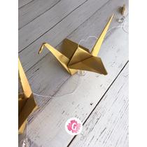 Grullas Doradas Plateadas Origami Souvenir Guirnalda Movil