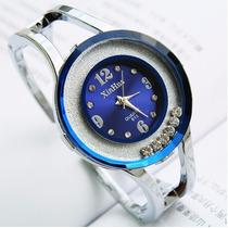 Relogio Feminino Quartzo Xinhua Cristal Bracelete Azul/prata