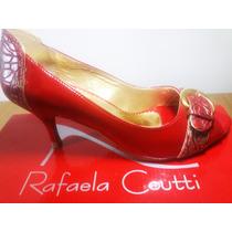 Sapato Fem Salto Alto Vermelho - Rafaela Coutti - Novo Na Cx