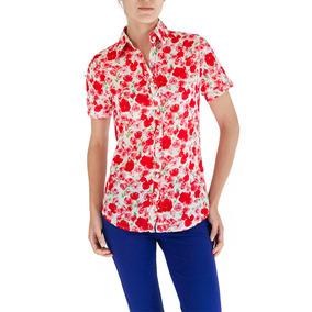 Camisa De Dama Manga Corta De Color Roja Estampado De Rosas