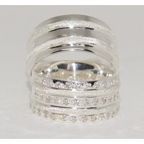 Par De Alianças De Prata 950k Grossas 8mm Diamantado Pedras