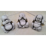 Trio Buda Chines Cego Surdo Mudo China Yoga Estatua Gesso