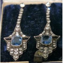 Antiguos Aros Art Deco Plata 935 Sellados Zafiros Azules