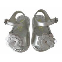 10784 - Infantil Feminino Sandália Em Couro Bebê Prata Toke