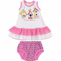 Vestido Infantil Sem Manga Com Babado E Calcinha Little Home