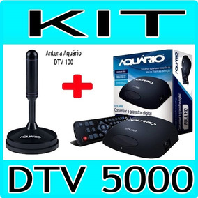 Kit Conversor Tv Digital Aquario Dtv 5000 + Antena Dtv 100