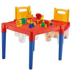 Mesa P/ Crianças Plastico + 2 Cadeiras + Acessórios Blocos