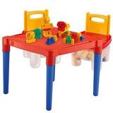 Mesinha Plastica Infantil + 2 Cadeiras + Acessórios Blocos