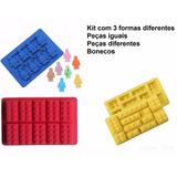 Kit Com 3 Tipos De Forma De Silicone Lego Gelo Chocolate