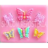 *molde Silicon 6 Mariposas Varias Fondant Pastel Cake Pops*
