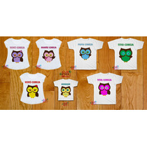 Kit Camisetas Família Coruja Personalizada Chá De Bebê Festa