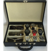 Estojo Maleta Porta 9 Relógios + 3 Óculos - Couro Ecológico