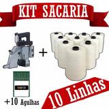 Máquina De Costurar Boca De Sacos + 10 Agulhas + 10 Linhas