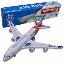 Avião De Brinquedo Air Bus A380 Acende Luz E Se Move Sozinho