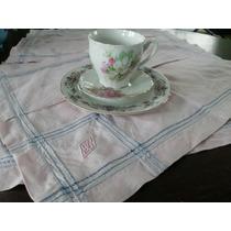 Mantelito,individual Antiguo,rosa,bordado Azul Y Alforza.