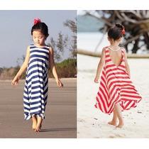 Vestido De Rallas Para Niñas Ideal Para La Playa