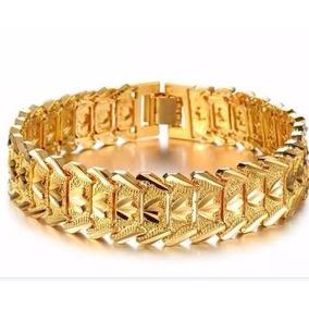 Pulseira Bracelete Masculino Dourado Banhado A Ouro 18k Luxo