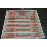Set De Billetes De 5bs Sep 89 Serie L77-81