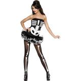Disfraz Esqueleto Fever Sexy, Blanco / Negro, Pequeña