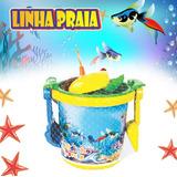 Kit 50 Baldinhos Praia Com 7 Peças - Tema Fundo Do Mar