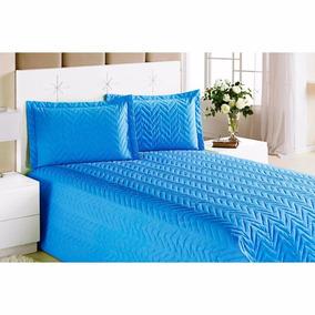 Kit Cobre Leito + Lençol Solteiro C\ 3pçs Colcha Clean Azul