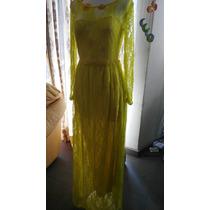 Vestido De Fiesta Mediano Color Amarillo Moda Asiatica Size3