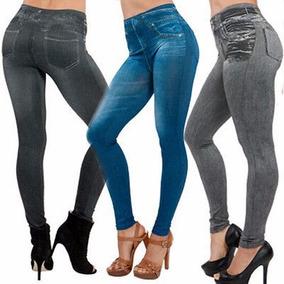 Calça Legging Jeans Imita Jeans - Roupas Femininas