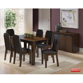 Conjunto Sala De Jantar Mesa 6 Cadeiras Buffet Dakota Imbuia