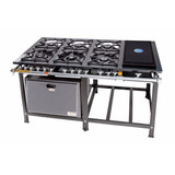 Fogão Gás Industrial 6 Bocas Chapa Lanches +forno Inox 113 L