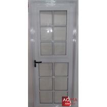 Puerta Aluminio Blco C/postigo De Abrir Y Mosquitero 80 X 2