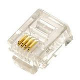 Conector Rj11 Telefonia 6x4 Pacote 100 Pçs 6 Vias 4 Contatos