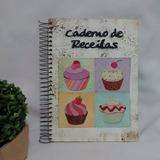 Caderno Receitas G Capa Em Mdf Pintura Decoupage Cup Cakes