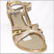 Sandalia Tacon 1262 Mediano Doradas Plata Mujer Moda Niña