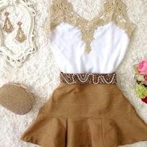 Conjunto Saia +blusa Blusinha Decote Viscose Bolinha Guipir