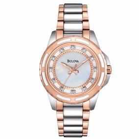 Reloj Bulova Con Diamantes En Acero Dos Tonos 98p134