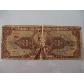 Cédula Dinheiro Antigo, 20 Cruzeiros, 2ª Estampa, Ano 1962